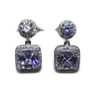 white gold on silver dangle drop earring square CZ